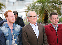 William Ruane, Ken Loach, Paul Brannigan,  at  The Angel?s Share photocall at the 65th Cannes Film Festival France. The Angel's Share is directed by Ken Loach. Tuesday 22nd May 2012 in Cannes Film Festival, France.