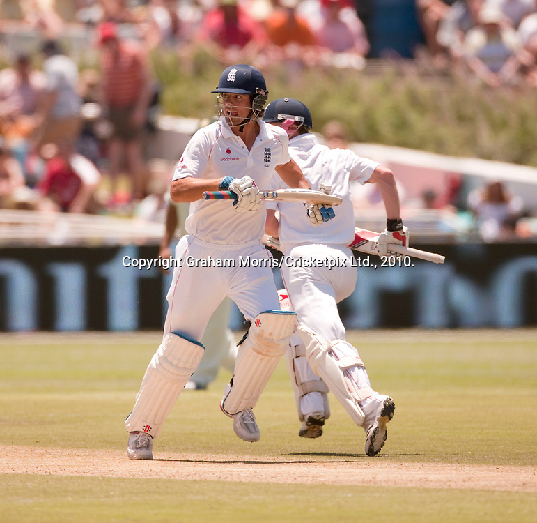 Alastair Cook runs during the third Test Match between South Africa and England at Newlands, Cape Town. Photograph © Graham Morris/cricketpix.com (Tel: +44 (0)20 8969 4192; Email: sales@cricketpix.com)