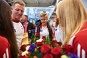 Warsaw, Poland - 2017 October 03: Katarzyna Zillmann (AZS UMK Energa Torun) Polish rower W4x smiles while welcome of Polish Rowing National Team at Chopin Airport on October 03, 2017 in Warsaw, Poland.<br /> <br /> Mandatory credit:<br /> Photo by &copy; Adam Nurkiewicz / Mediasport<br /> <br /> Adam Nurkiewicz declares that he has no rights to the image of people at the photographs of his authorship.<br /> <br /> Picture also available in RAW (NEF) or TIFF format on special request.<br /> <br /> Any editorial, commercial or promotional use requires written permission from the author of image.