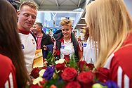 Warsaw, Poland - 2017 October 03: Katarzyna Zillmann (AZS UMK Energa Torun) Polish rower W4x smiles while welcome of Polish Rowing National Team at Chopin Airport on October 03, 2017 in Warsaw, Poland.<br /> <br /> Mandatory credit:<br /> Photo by © Adam Nurkiewicz / Mediasport<br /> <br /> Adam Nurkiewicz declares that he has no rights to the image of people at the photographs of his authorship.<br /> <br /> Picture also available in RAW (NEF) or TIFF format on special request.<br /> <br /> Any editorial, commercial or promotional use requires written permission from the author of image.