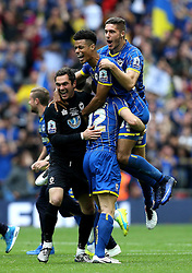 AFC Wimbledon celebrate Promotion to League One after winning the League Two Playoff Final - Mandatory by-line: Robbie Stephenson/JMP - 30/05/2016 - FOOTBALL - Wembley Stadium - London, England - AFC Wimbledon v Plymouth Argyle - Sky Bet League Two Play-off Final