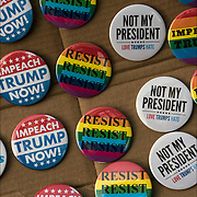"Humorous political Anti President Trump Buttons:  ""Wall off Trump"", ""Not My President"", ""Impeach Trump"", Refugees Banned"", ""Trump Show us Your Taxes"""