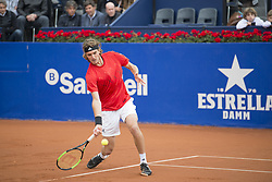 April 29, 2018 - Barcelona, Barcelona, Spain - STEFANOS TSITSIPAS reaches for the ball during the semifinal against RAFAEL NADAL in the Barcelona Open Banc Sabadell 2018. RAFAEL NADAL won the match 6-2 6-1. This was RAFAEL NADAL's 11th victory at the tournament. (Credit Image: © Patricia Rodrigues/via ZUMA Wire via ZUMA Wire)