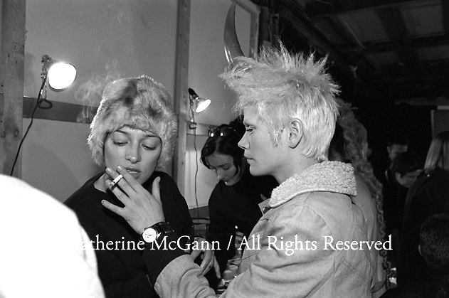 March 1996:  Models smoking backstage at Alexander McQueen's first fashion show in New York.  The collection was shown in a former synagogue on Norfolk Street (now the Angel Orensanz Foundation Center for the Arts) on the Lower East side in New York City, New York.