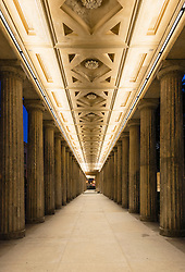 Colonnade at night at Alte Nationalgalerie on Museum Island or Museumsinsel in Berlin Germany
