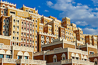 Emirats Arabes Unis, Dubai, le quartier de New Dubai, le Palm Jumeirah,batiment de style yemenite // United Arab Emirates, Dubai, the Palm Jumeirah, building with Yemen style of architecture