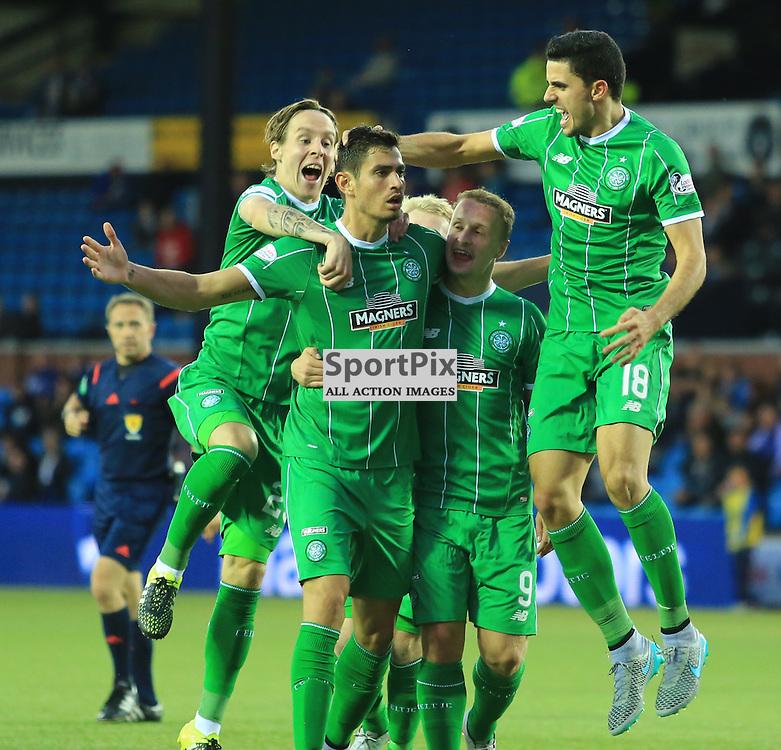 Celtic's Tomas Rogić  celebrates with team mates after firing in an unstoppable shot to put celtic in front during the Kilmarnock FC V Glasgow Celtic FC Scottish Premiership 12th August 2015 ©Edward Linton   SportPix.org.uk