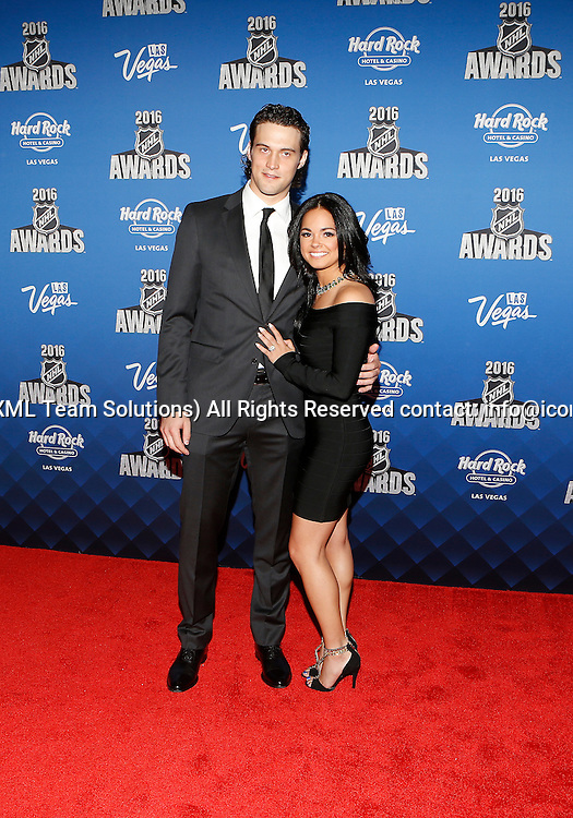 2016 June 22: Anaheim Ducks goaltender John Gibson and Alexa pose for a photograph on the red carpet during the 2016 NHL Awards at the Hard Rock Hotel and Casino in Las Vegas, Nevada. (Photo by Marc Sanchez/Icon Sportswire)