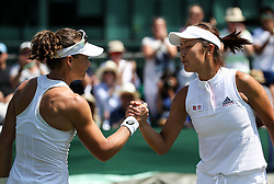 LONDON, July 3, 2018  Samantha Stosur (L) of Australia shakes hands with Peng Shuai of China after their women's singles first round match at the Championship Wimbledon 2018 in London, Britain, on July 3, 2018. Samantha Stosur won 2-0. (Credit Image: © Tang Shi/Xinhua via ZUMA Wire)