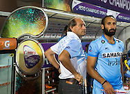 BHUBANESWAR (India) -  Hero Champions Trophy hockey men. Semifinal India vs Pakistan. coach Roelant Oltmans of India with Sardar Singh of India. Photo Koen Suyk