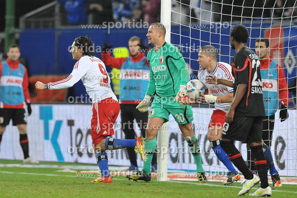 17.12.2011, Imtech Arena, Hamburg, GER, 1. FBL, Hamburger SV (GER) vs FC Augsburg (GER), im Bild Paolo Guerrero (Hamburg #09) schiesst das 1-1 fuer Hamburg vorbei an Torhueter Mohammed Amsif (Augsburg #30) und jubelt // during match at Imtech Arena 2011/12/17,HamburgEXPA Pictures © 2011, PhotoCredit: EXPA/ nph/ Witke *** Local Caption ***..***** ATTENTION - OUT OF GER, CRO *****