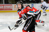 KELOWNA, CANADA, OCTOBER 22: Colton Sissons #15 of the Kelowna Rockets skates on the ice as  the Victoria Royals visited the Kelowna Rockets on October 22, 2011 at Prospera Place in Kelowna, British Columbia, Canada (Photo by Marissa Baecker/shootthebreeze.ca) *** Local Caption ***Colton Sissons;