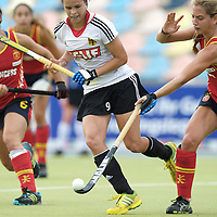 MONCHENGLADBACH - Junior World Cup<br /> Pool D: Germany - Spain<br /> photo: Pia-Sophie Oldhafer (white), Cristina Guinea (red, right) and Julia Pons (red, left).<br /> COPYRIGHT  FFU PRESS AGENCY/ FRANK UIJLENBROEK
