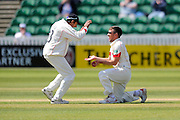 Lancashire's Simon Kerrigan celebrates taking the wicket of Somerset's Tom Abell with Lancashire's Haseeb Hameed during the Specsavers County Champ Div 1 match between Somerset County Cricket Club and Lancashire County Cricket Club at the County Ground, Taunton, United Kingdom on 4 May 2016. Photo by Graham Hunt.