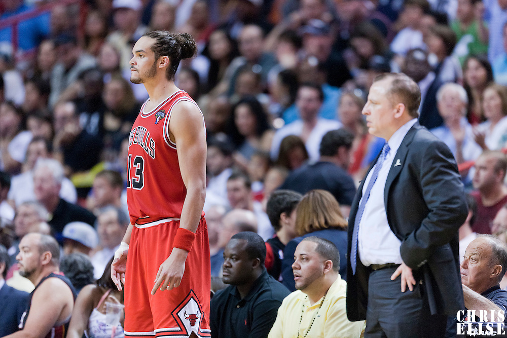 06 March 2011: Chicago Bulls center Joakim Noah (13) is seen next to Chicago Bulls head coach Tom Thibodeau during the Chicago Bulls 87-86 victory over the Miami Heat at the AmericanAirlines Arena, Miami, Florida, USA.