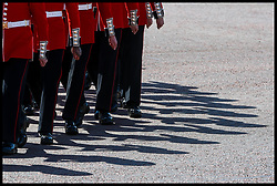 May 25, 2019 - London, London, United Kingdom - Major General's Review...The shadows of Household Guards is cast on the road outside Buckingham Palace during the Major General Review ahead of the Trooping of the Colour. (Credit Image: © Pete Maclaine/i-Images via ZUMA Press)