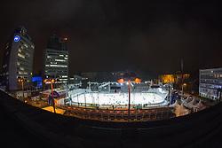 View on the rink before ice hockey match between HDD Telemach Olimpija and HDD SIJ Acroni Jesenice at Winter Classic of HDD Telemach Olimpija called Pivovarna Union Ice Fest 2014, on December 18, 2014 on Republic Square, Ljubljana, Slovenia. (Photo By Matic Klansek Velej / Sportida.com)