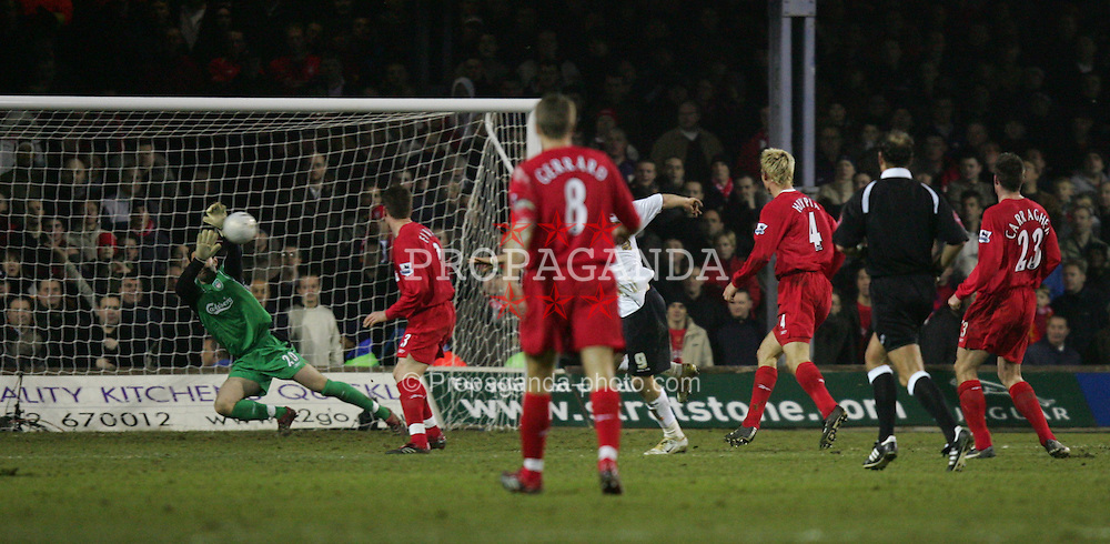 LUTON, ENGLAND - SATURDAY, JANUARY 7th, 2006: Liverpool's Scott Carson saves a shot from Luton Town's Steve Howard during the FA Cup 3rd Round match at Kenilworth Road. (Pic by David Rawcliffe/Propaganda)