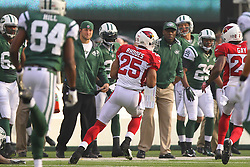 Dec 2, 2012; East Rutherford, NJ, USA; Arizona Cardinals free safety Kerry Rhodes (25) returns an interception of a New York Jets quarterback Mark Sanchez (6) pass during the first half at MetLIfe Stadium.