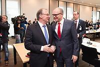16 MAR 2017, BERLIN/GERMANY:<br /> Reiner Haseloff (L), CDU, Ministerpraesident Sachsen-Anhalt, und Erwin Sellering (R), SPD, Ministerpraesident Mecklenburg-Vorpommern, im Gespraech, vor Beginn einer Sitzung der Ministerpraesidentenkonferenz, Bundesrat<br /> IMAGE: 20170316-01-003<br /> KEYWORDS: Ministerpr&auml;sidentenkonferenz, MPK, Gespr&auml;ch