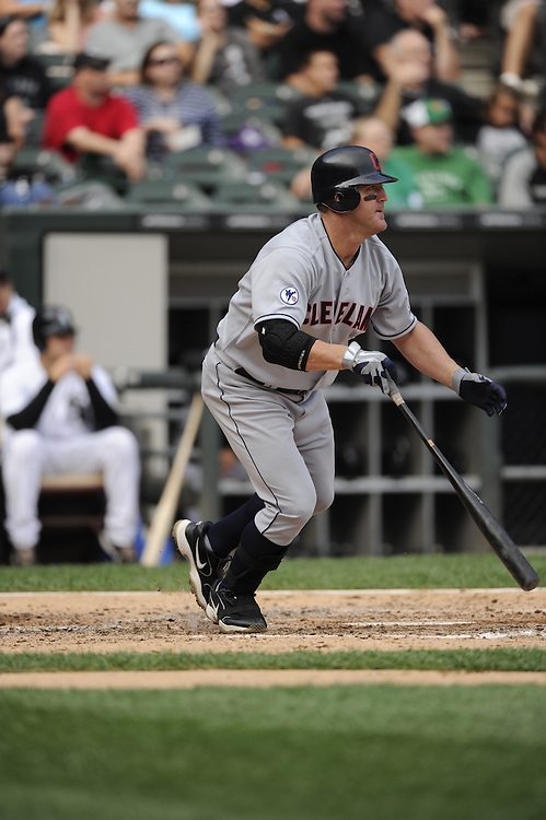 CHICAGO - SEPTEMBER 10:  Jim Thome #25 of the Cleveland Indians bats against the Chicago White Sox on September 10, 2011 at U.S. Cellular Field in Chicago, Illinois.  The White Sox defeated the Indians 7-3.  (Photo by Ron Vesely)   Subject: Jim Thome