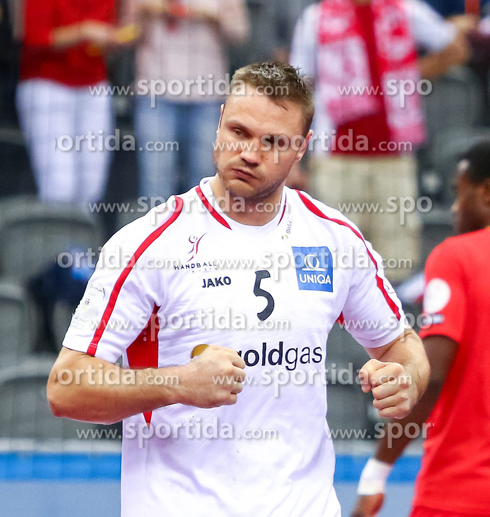19.01.2015, Ali Bin Hamad Al Attiyah Arena, Doha, QAT, IHF, Handball Weltmeisterschaft der Herren, Gruppe B, Österreich vs Tunesien, im Bild Vytautas Ziura (AUT) // during the IHF Handball World Championship group B match between Austria and Tunisia at the Ali Bin Hamad Al Attiyah Arena, Doha, Qatar on 2015/01/19. EXPA Pictures © 2015, PhotoCredit: EXPA/ Sebastian Pucher