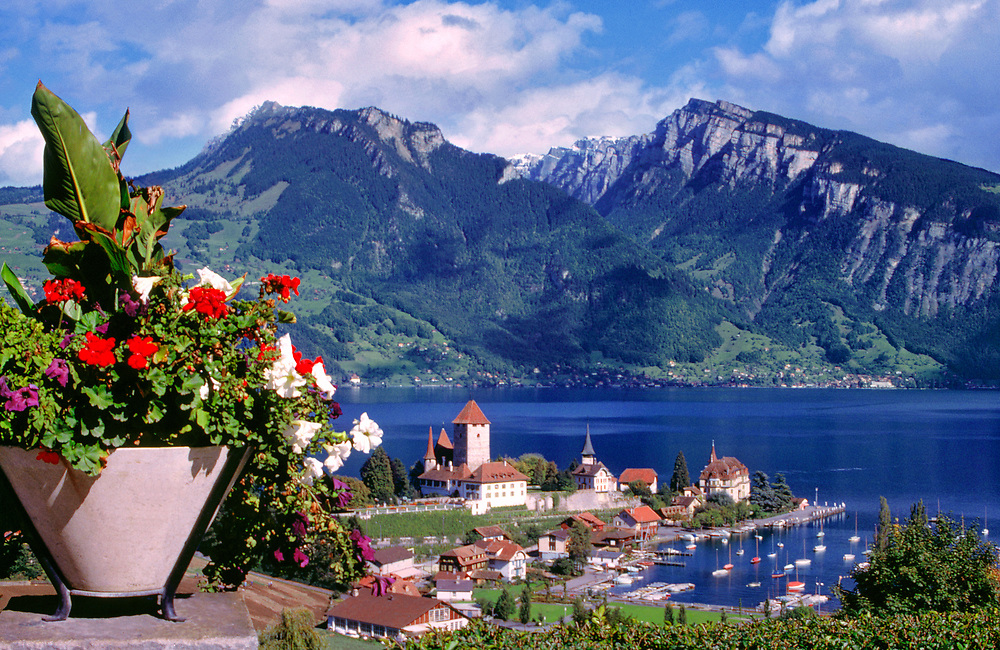 Castle Oberhofen has a commanding view of the Thunersee in the Berner Oberland, Switzerland. ©Ric Ergenbright
