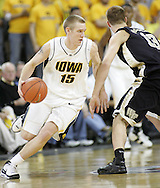 26 NOVEMBER 2007: Iowa guard Dan Bohall (15) in Wake Forest's 56-47 win over Iowa at Carver-Hawkeye Arena in Iowa City, Iowa on November 26, 2007.