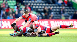 Gabriel Ibitoye of Harlequins is tackled by Max Stelling and Huw Taylor of Worcester Warriors - Mandatory by-line: Robbie Stephenson/JMP - 12/11/2017 - RUGBY - Twickenham Stoop - London, England - Harlequins v Worcester Warriors - Anglo-Welsh Cup