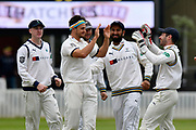 Wicket - Jack Brooks of Yorkshire celebrates taking the wicket of Matt Renshaw of Somerset \during the third day of the Specsavers County Champ Div 1 match between Somerset County Cricket Club and Yorkshire County Cricket Club at the Cooper Associates County Ground, Taunton, United Kingdom on 29 April 2018. Picture by Graham Hunt.