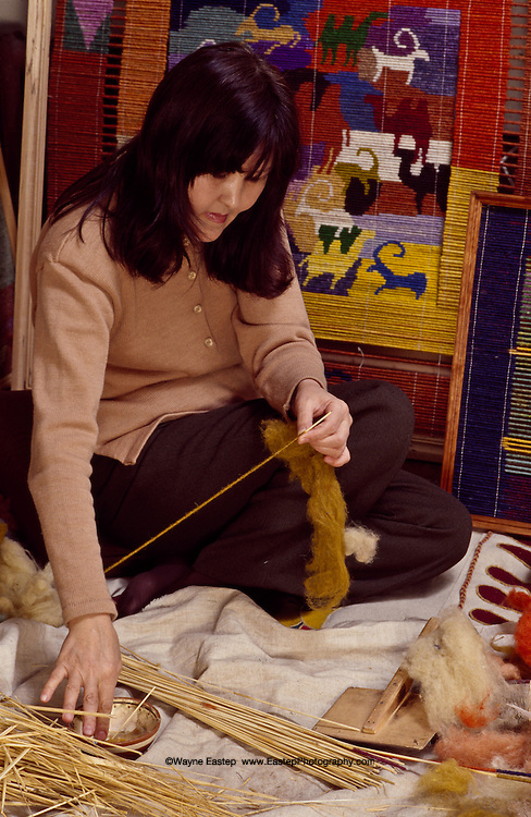 Raigul Akhmetzhanova learned traditional  Chi making (reeds wrapped with wool) from elderly Kazakh women.  She uses the age-old technique to express her modern art.