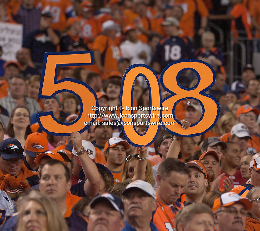 Oct. 19, 2014 - Denver, Colorado, U.S - Broncos fans ready for Bronco QB PAYTON MANNINGS TD pass #508 during the 1st. half at Sports Authority Field at Mile High Sunday afternoon. The Broncos beat the 49ers 42-17