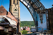 Demolition continues on the Holy Trinity Church in Duquesne, Pennsylvania, USA, on September 4, 2016. The church is being demolished after a storm caused the roof to collapse and make the rest of the structure unstable and unsafe.<br /> <br /> Holy Trinity Church is a gothic-revival style church dedicated in 1907 and served its congregation until the 1960&rsquo;s.<br /> <br /> Duquesne was home to the Duquesne Works steel mill that was part of Carnegie Steel Corporation and later part of U.S. Steel. It was home to the largest blast furnace in the world, named the &quot;Dorothy Six&quot;
