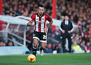 Brentford defender Nico Yennaris during the Sky Bet Championship match between Brentford and Nottingham Forest at Griffin Park, London, England on 21 November 2015. Photo by David Charbit.
