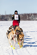 Musher Matt Hall after the restart in Willow of the 46th Iditarod Trail Sled Dog Race in Southcentral Alaska.  Afternoon. Winter.