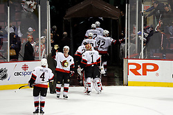 April 26, 2007; East Rutherford, NJ, USA; Ottawa Senators defenseman Wade Redden (6) congratulates his team as they leave the ice after their 5-4 Game 1 win over the New Jersey Devils at Continental Airlines Arena in East Rutherford, NJ.