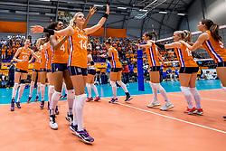 26-08-2017 NED: World Qualifications Netherlands - Slovenia, Rotterdam<br /> De Nederlandse volleybalsters plaatsten zich eenvoudig voor het WK volgend jaar in Japan. Ook Sloveni&euml; wordt met 3-0 verslagen / Team Nederland naar het WK