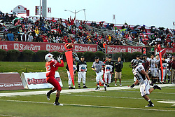 25 September 2010:  Tyrone Walker turns around to catch a ball at the 4 yard line, then turns it in for 6 points.  The Missouri State Bears lost to the Illinois State Redbirds 44-41 in double overtime, meeting at Hancock Stadium on the campus of Illinois State University in Normal Illinois.