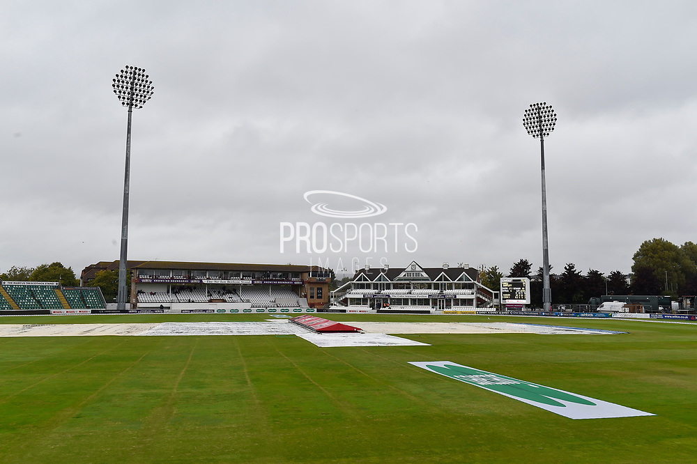 Rain Stops Play - Covers are on as the rain continues to fall during the Specsavers County Champ Div 1 match between Somerset County Cricket Club and Essex County Cricket Club at the Cooper Associates County Ground, Taunton, United Kingdom on 23 September 2019.