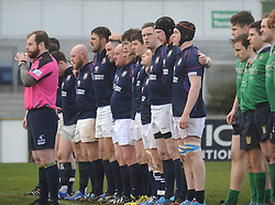 Players observe a minutes silence at the start of the Junior cup final in memory of Kevin Moran, from Mulranny former Westport and Connacht A player.<br />