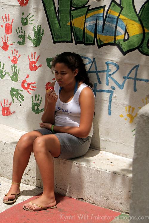 South America, Brazil. Rio de Janiero. Girl of Para Ti school in Favela of Vila Canoas.