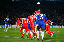 Thiago Silva of Paris Saint-Germain scores a goal with a header to make the score 2-2 - Photo mandatory by-line: Rogan Thomson/JMP - 07966 386802 - 11/03/2015 - SPORT - FOOTBALL - London, England - Stamford Bridge - Chelsea v Paris Saint-Germain - UEFA Champions League Round of 16 Second Leg.