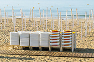 Portuguese Summer. Beach chairs at Praia da Luz in Algarve.