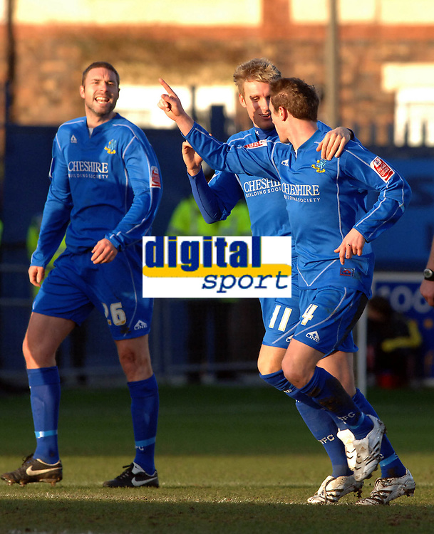 Photo: Paul Greenwood.<br />Macclesfield Town v Hereford United. Coca Cola League 2. 20/01/2007. Macclesfield's Kevin McIntyre, right, celebrates his goal with Jamie Tolley