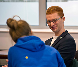 Pictured: Terry Reintke (blue hoodie); Ross Greer (glasses and ginger hair), Patricia Santana Ramirez (Striped shirt) and Alison Johnstone (blue jacket).  It is unclear if the single star on the back of Ms Reintke's hoodie represented the UK with the other European countries stars in a circle on the front of her hoodie.<br /> <br /> German politician Terry Reintke, MEP, joined Scottish Greens education spokesman Ross Greer and Greens MSP colleague Alison Johnstone today on a visit to West Lothian College to discuss the potential impact of Brexit on the Erasmus+ programme for students. All the polliticians met Patricia Santana Ramirez from Spain who is concerned over the uncertainty the Brexit negotiations will have on the Eurasmus + programme<br /> <br /> Ger Harley   EEm 22 March 2019