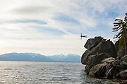 Brandon Beck lets it all hang out over Lake Tahoe.