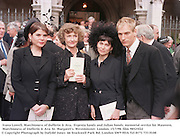Ivana Lowell, Marchioness of dufferin & Ava,  Evgenia Sands and Julian Sands. memorial service for Maureen, Marchioness of Dufferin & Ava. St. Margaret's. Westminster. London. 15/7/98. film 98525f22<br />
