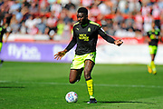 Jabo Ibehre (14) of Cambridge United on the attack during the EFL Sky Bet League 2 match between Exeter City and Cambridge United at St James' Park, Exeter, England on 5 August 2017. Photo by Graham Hunt.
