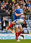 Portsmouths Adam McGurk celebrates his 2nd goal with Ben Davies during the The FA Cup match between Portsmouth and Macclesfield Town at Fratton Park, Portsmouth, England on 7 November 2015. Photo by Adam Rivers.