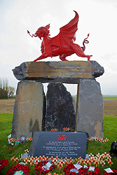 FLANDERS, BELGIUM - Monday, November 17, 2014: The war memorial to the Welsh soldiers at Flanders Field in Belgium. (Pic by David Rawcliffe/Propaganda)